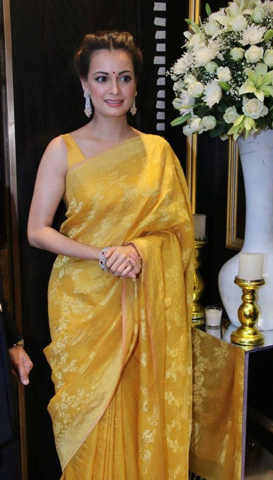 Dia Mirza Yellow Saree