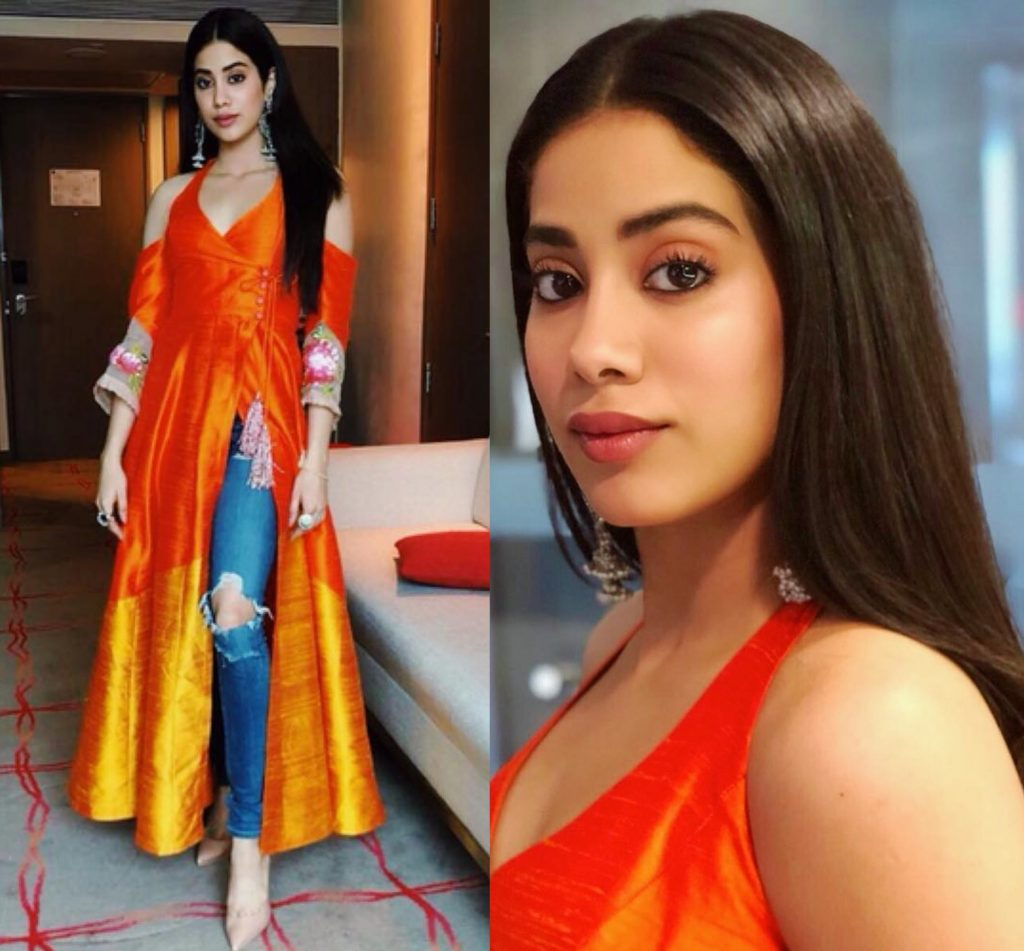 Jhanvi Kapoor ripped jeans with kurti