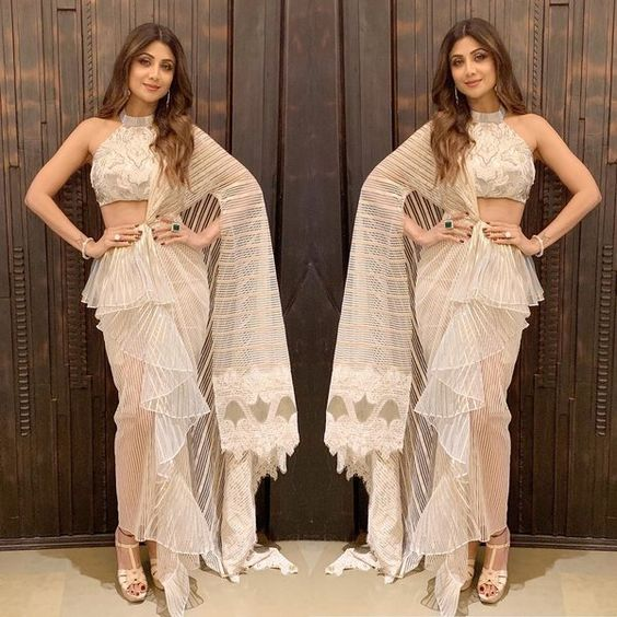 Shilpa Shetty Kundra in Ruffle Saree