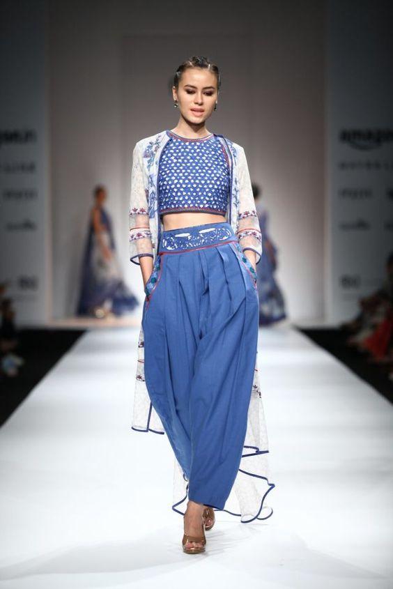 Crop-top and pant style salwar kameez
