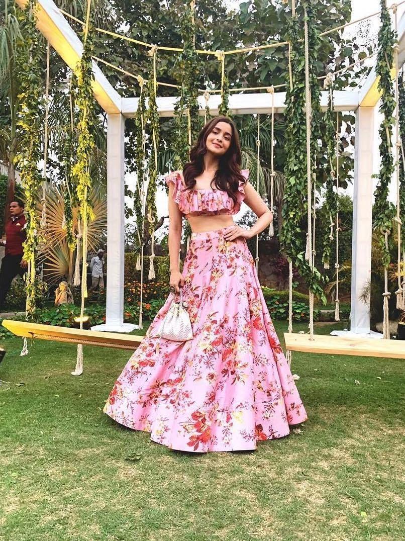 alia bhatt pink floral lehenga
